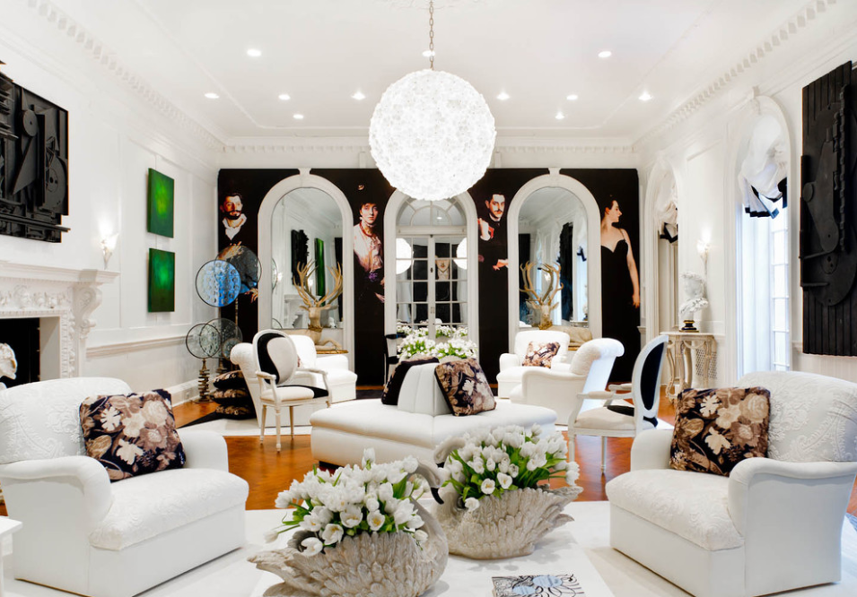 Set Against The Backdrop Of A Custom Photo Mural Luxurious Black And White Living Room NYC Holiday House 2012 Celebrates Both Past Present