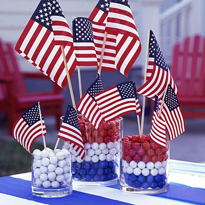 Flags anchored in red, white, and blue gum balls. (Photo: All You)