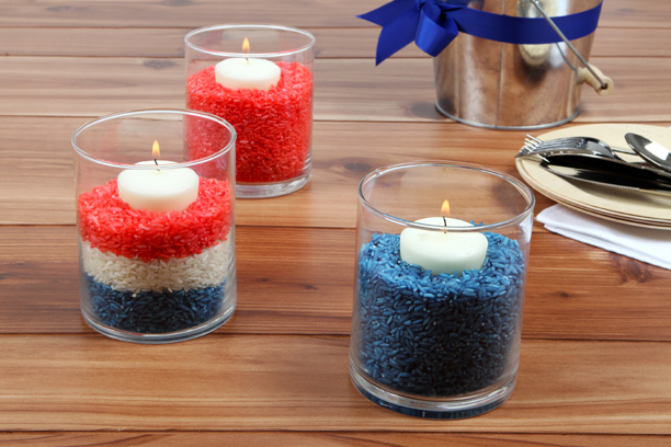 Candles in red, white, and blue rice. (Photo: Epicurious)