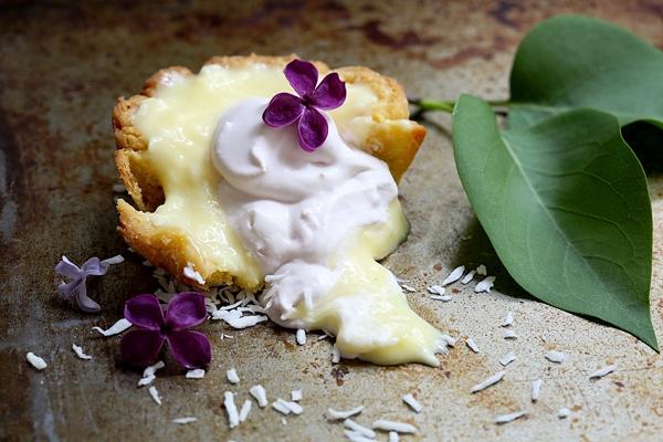 Lilac Coconut Cream Tarts