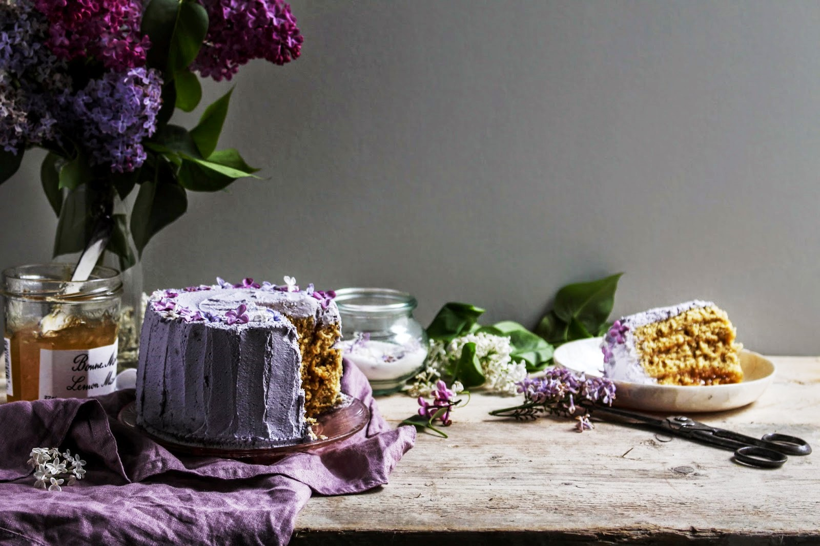 Earl Grey and Lemon Vertical Roll Cake with Lilacs