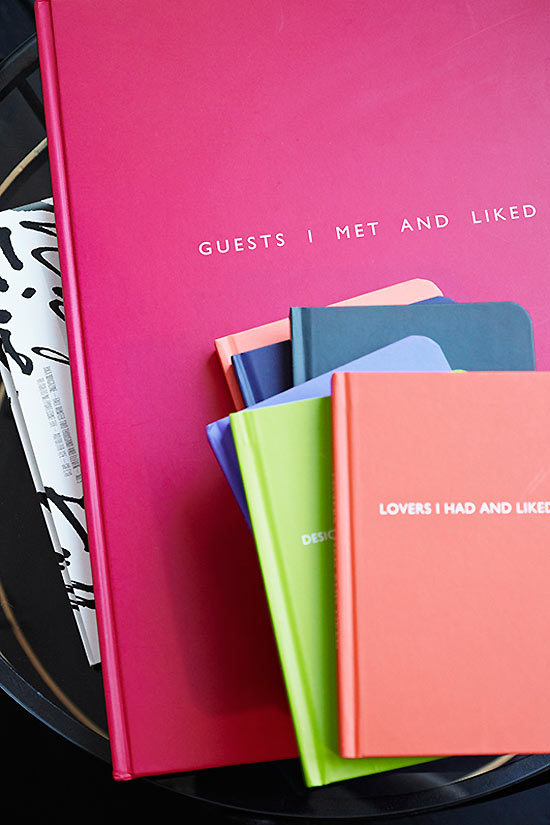 The guestbook, as well as notebooks available for sale, at Maison Rika.