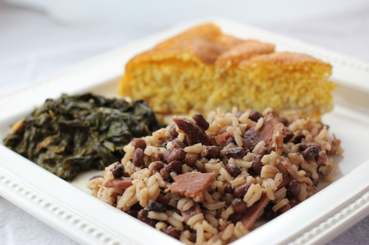 Hoppin' John, greens, and cornbread (Photo: Spoon And Chair)