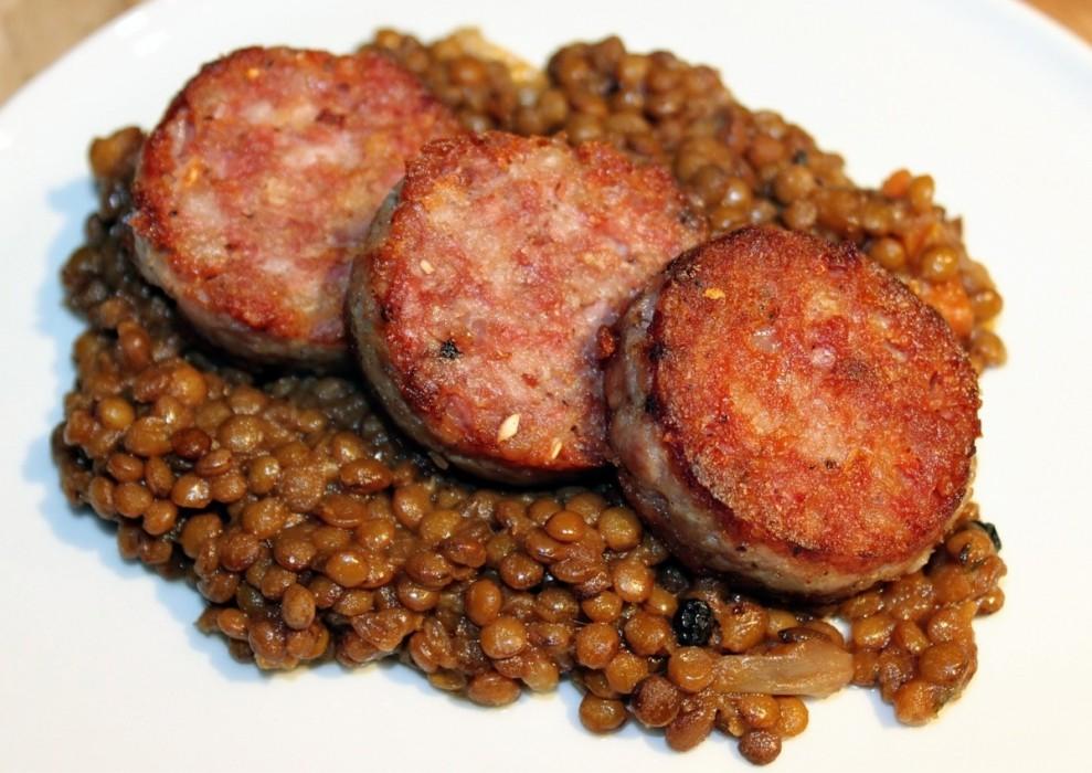 Cotechino con Lenticchie or Italian pork skin sausage with lentils. (Photo: Reddit)