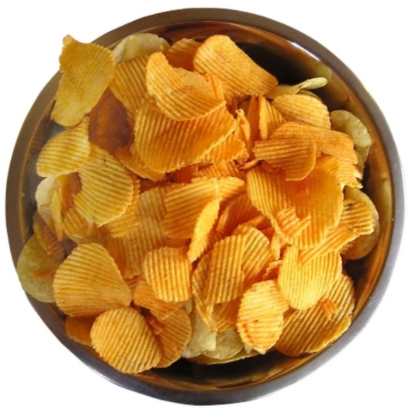 Rippled barbecue potato chips
