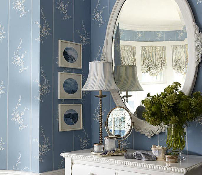 The wallpaper is Ralph Lauren's Elsinore Floral Stripe in Wedgewood.