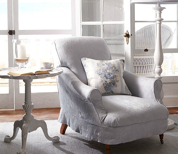 Victoria Falls Club Chair, upholstered in Chambly Damask-Dream by Ralph Lauren.