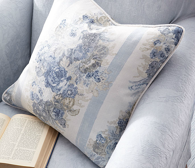 Throw Pillow, in Ladies Day Floral-Sargent Blue by Ralph Lauren.