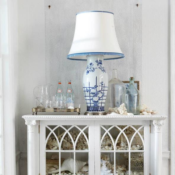 Rosecliff Bookcase and Allysoln Lattice Table Lamp.