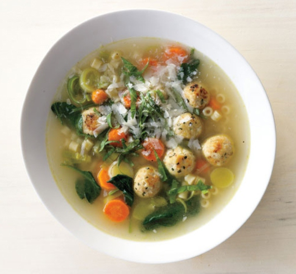 Spring Minestrone with Chicken Meatballs (Photo: Bon Appétit)