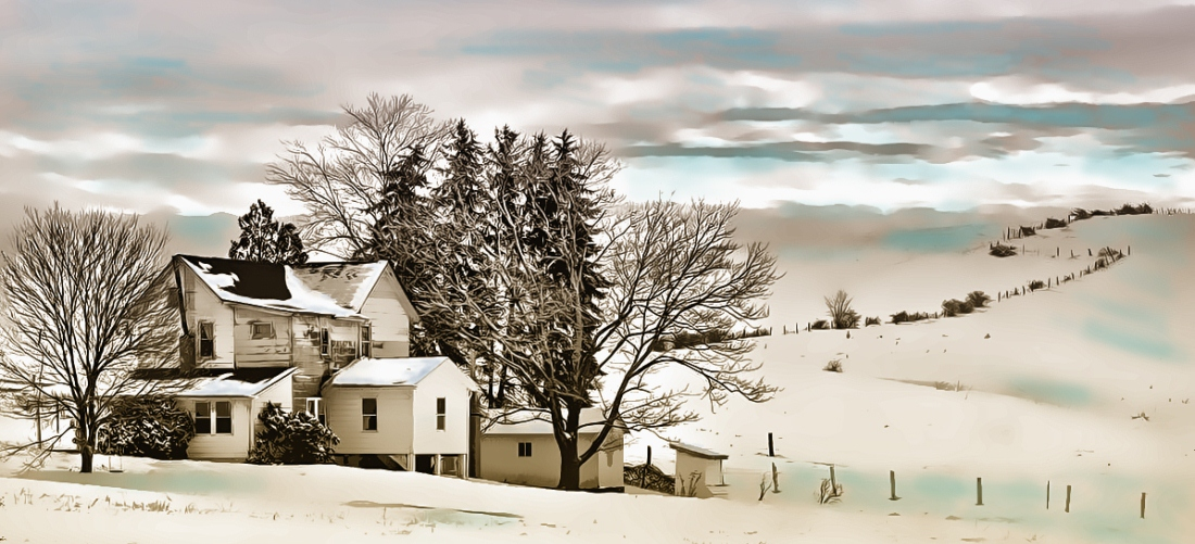 """Amish Farm in Winter"" by Tom Schmidt, watercolor, 2010."