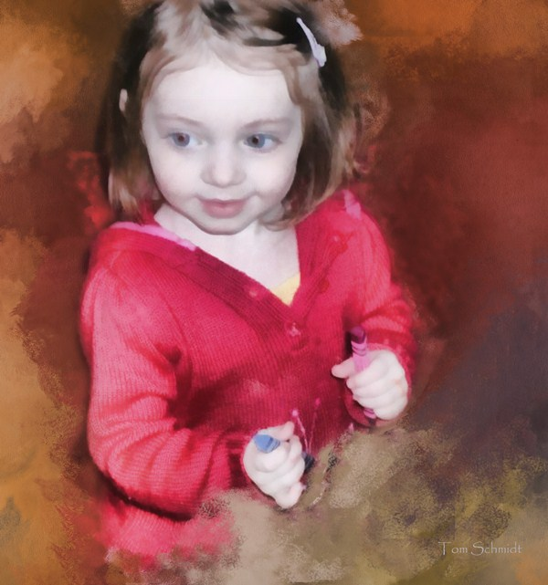 """Clare with Crayons"" by Tom Schmidt, watercolor, 2010."