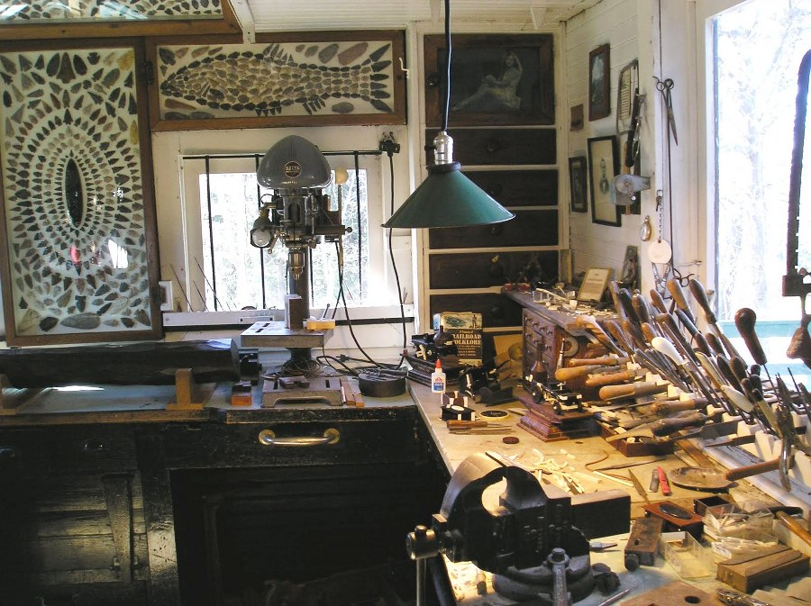 Warther's workbench, just as he left it. (Photo: Ohio Festivals)