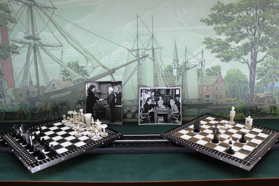 Chess set of ebony, ivory, and pearl Warther hand-carved for comedian Henry Morgan.