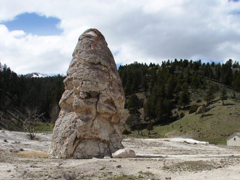 Liberty Cap, an extinct hot spring cone, stands 37 feet high at the base of the Lower Terrace.