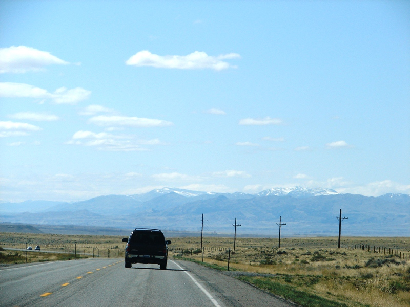 About 20 miles west of Casper, the snow-capped Big Horn Mountains come into view.