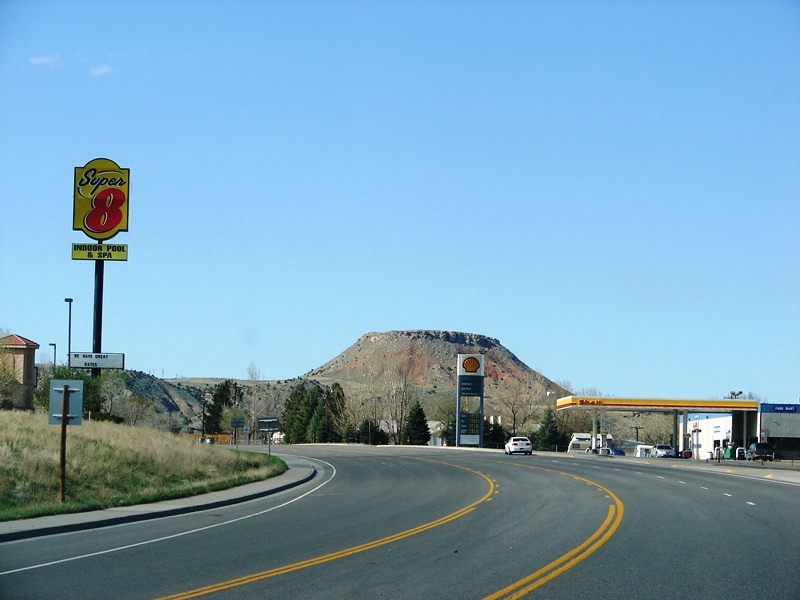 On US 20 North, coming into Thermopolis . . . Roundtop Mountain comes into view.
