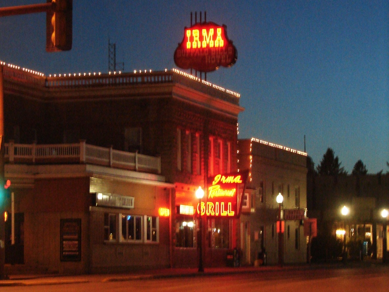 Turn-of-the-century Irma Hotel, Restaurant, and Saloon in downtown Cody, WY.