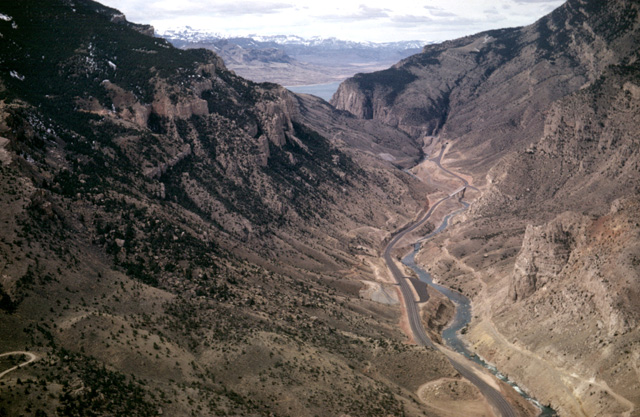 Aerial view - From Cody, the highway follows the river through the canyon and mountain to the reservoir. (Photo: Louis J. Maher, Jr.)