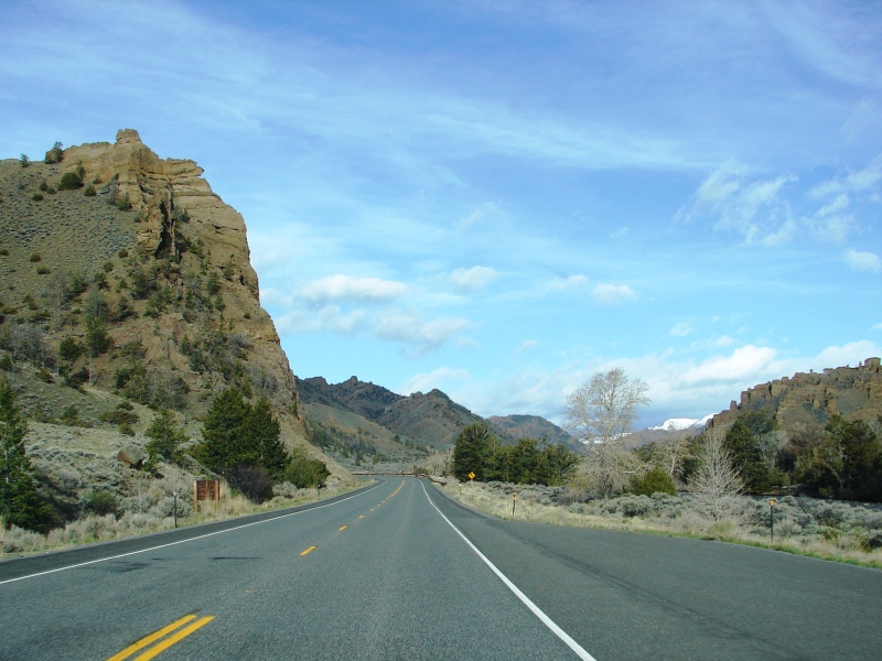 Buffalo Bill Cody Scenic Byway and the Holy City rock formation (on far right).