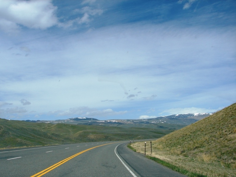 Turn-off for Chief Joseph Scenic Byway is just around the bend.