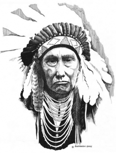 CHIEF JOSEPH by Paul Shafranski, pen and ink, 2013.