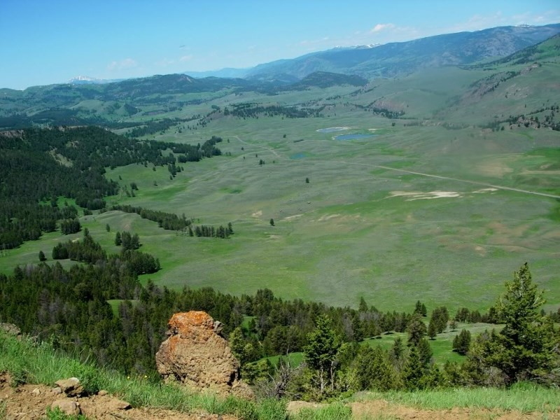 View of the Lamar Valley from Specimen Ridge looking northwest. The ribbon of road near center is Highway 212/Northeast Entrance Road. (Photo: Cheryl Ferendo)