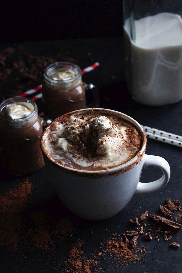 Boozy Hot Chocolate With Vanilla Bean Whipped Cream