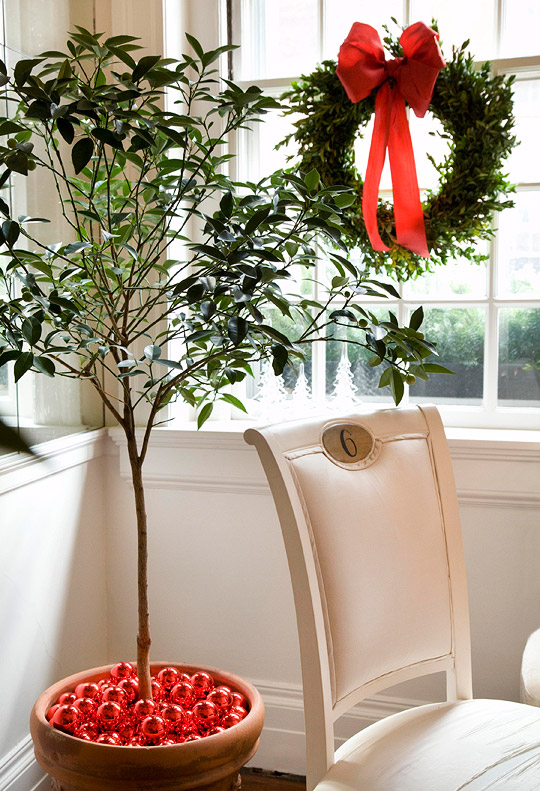 Red bulbs decorate potted plant (Photo: Traditional Home)