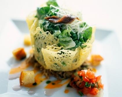 Caesar Salad in Parmesan Cheese Baskets. (Photo: 1001 Recipes)