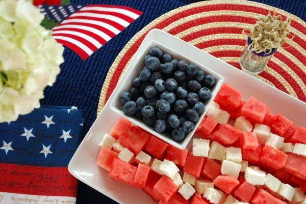 Watermelon, Feta, and Blueberry Flag