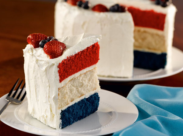 Red, White, and Blue Independence Day Cake. (Photo: Unusual 2 Tasty)