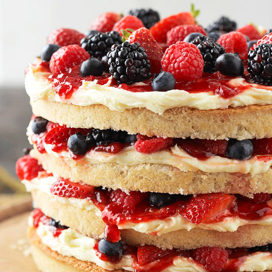 Vanilla Cake with Buttercream, Berries, and Jam. (Photo: Better Homes and Gardens)
