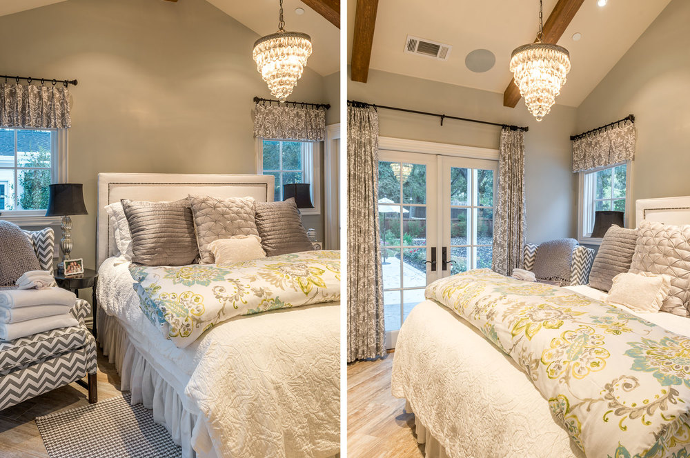 The bedroom, in soothing colors of tan and blue, is a relaxing retreat. The chandelier—pure elegance. (Photo: Eric Shephard Architects)