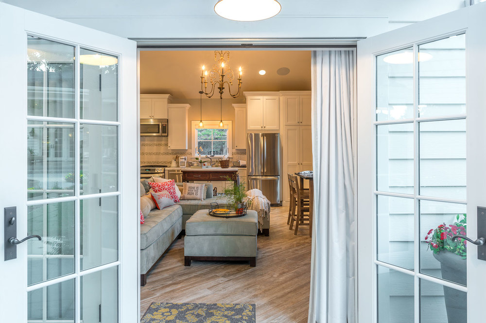 French doors open to a small, but impressive living space. (Photo: Eric Shephard Architects)