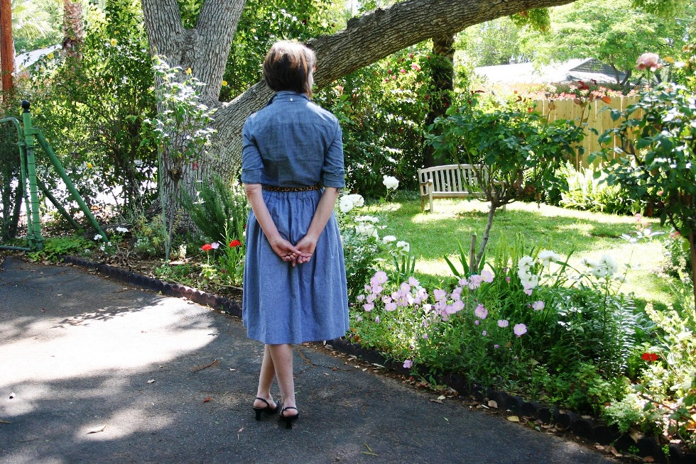 Janet Korff in her backyard.