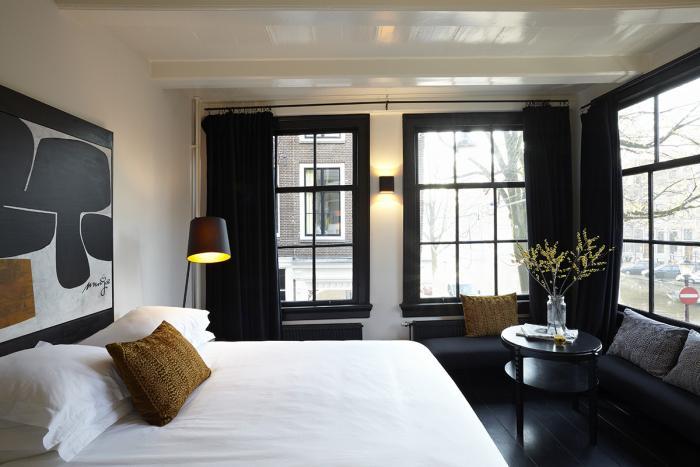 Trendy second-floor guestroom.