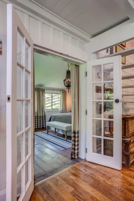 French doors lead to the master bedroom.