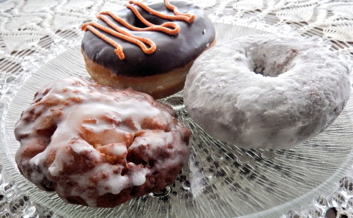 Doughnuts and apple fritters.