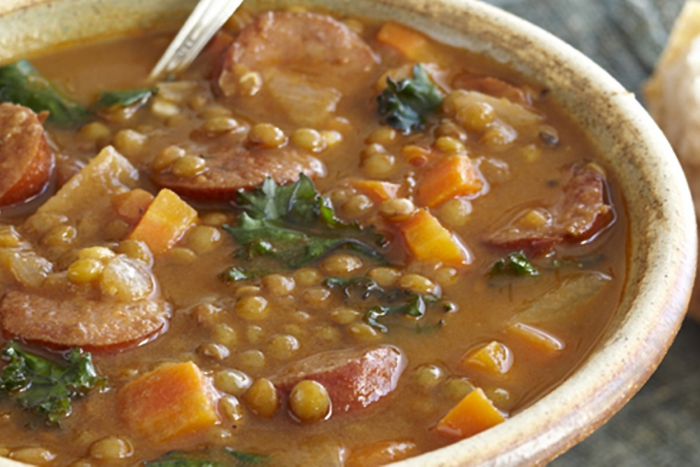 Lentil Soup with Kale and Sausage. (Photo: Applegate)
