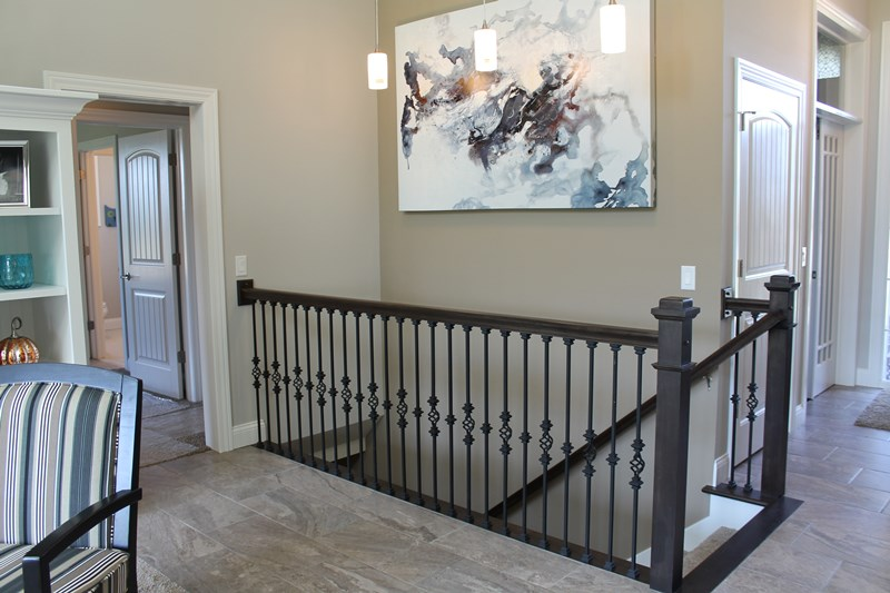 Wrought iron balusters on stairs