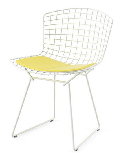 Bertoia side chair with vinyl sunflower yellow seat.
