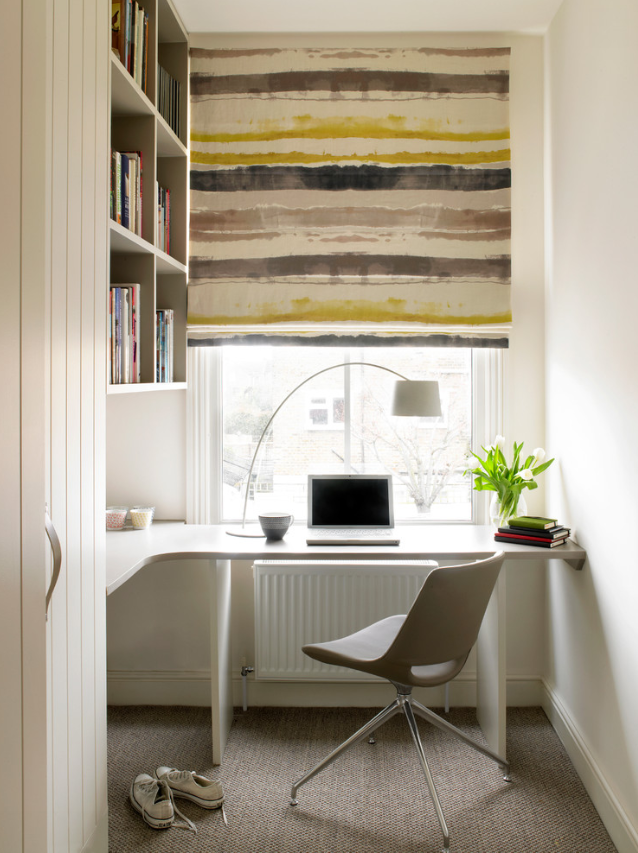 Built-in desk and shelving.