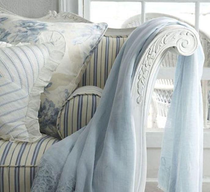 Havisham Throw Blanket in baby blue.