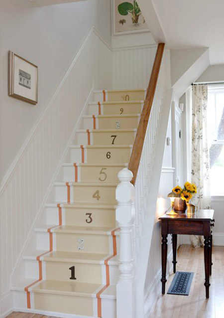 Numbers on the stairs.