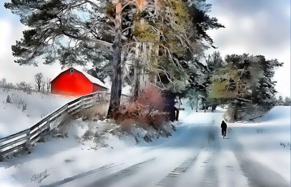 """Amish Boy on Bike"" by Tom Schmidt, mixed media, 2010."