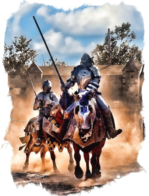 """""""Knights of Yore"""" by Tom Schmidt, watercolor, 2010."""