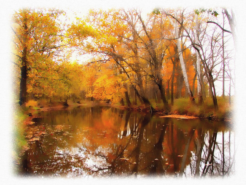 """""""Fall at Riverbend"""" by Tom Schmidt, watercolor, 2010."""