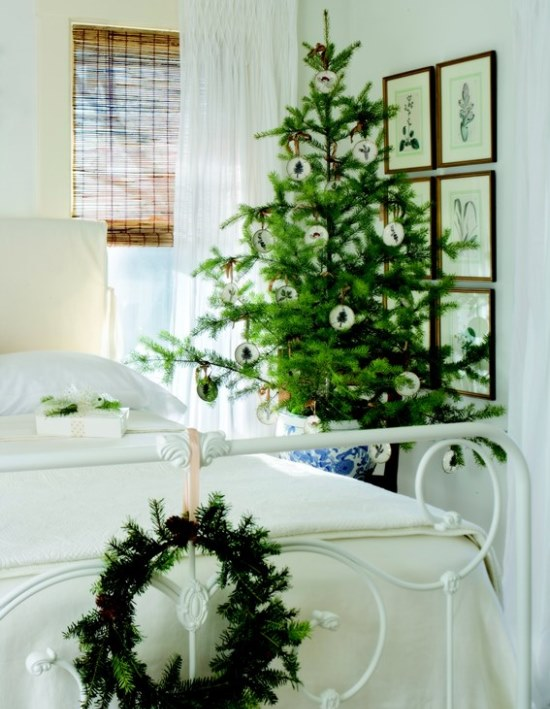 Place a small, live tree in an elegant cachepot on a table in the guest room. (Photo: Nell Hill's Blog)