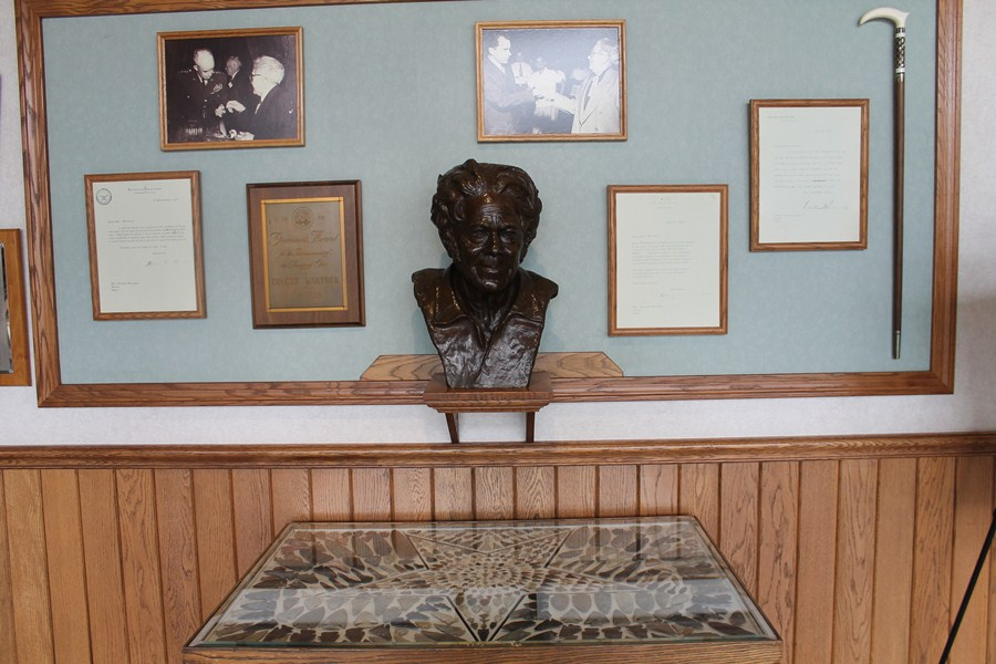 Bronze bust of Warther on display in the museum lobby.